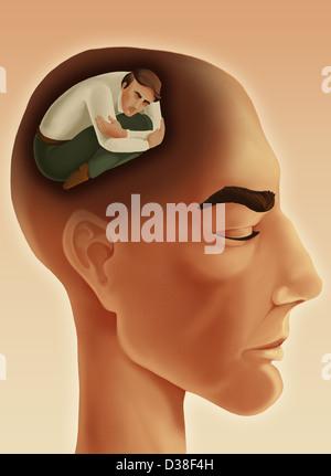 Immagine illustrativa di pensosa uomo con gli occhi chiusi che rappresentano personalità introverso Foto Stock