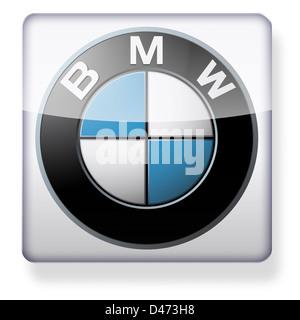 BMW logo come l'icona di un'app. Percorso di clipping incluso. Foto Stock
