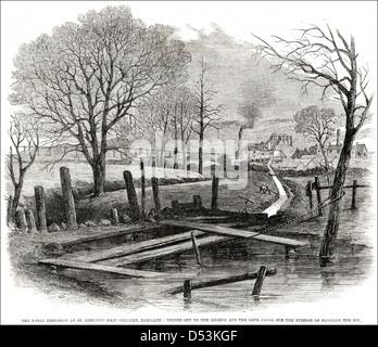 Esplosione presso St Edmund la principale miniera di carbone Barnsley & trench tagliato dal Dearne colomba e Canal Foto Stock