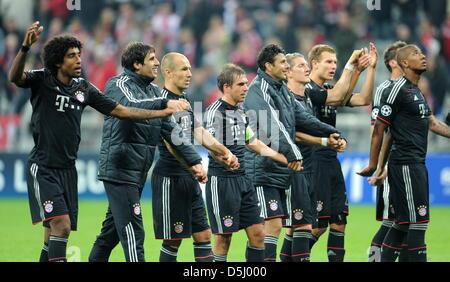 I giocatori di Monaco Dante (l-r), Javier Martinez, Arjen Robben, Philipp Lahm, Claudio Pizarro, Bastian SCHWEINSTEIGER, Foto Stock