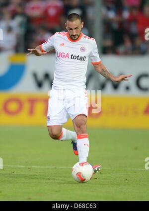 Monaco di Baviera Diego è contento gioca la palla durante il soccer test match tra SpVgg Unterhaching e FC Bayern Foto Stock