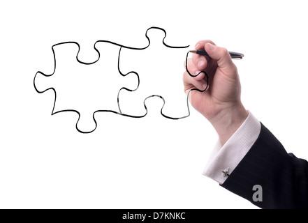 Disegno di pezzi di un puzzle con copia spazio per il testo isolato su bianco Foto Stock