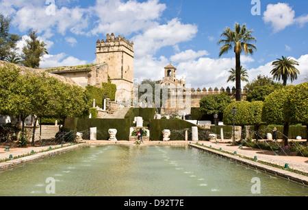 I giardini di Alcazar de los Reyes Cristianos (Fortezza di Christin kings) Cordoba Andalusia Andalusia Spagna Europa Foto Stock