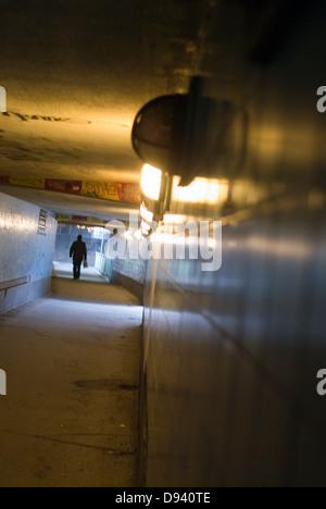 Un tunnel nella metropolitana di Stoccolma, Svezia. Foto Stock
