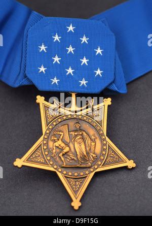 Close-up della medaglia d'onore attribuito a Navy SEALs, la più alta decorazione militare assegnato da parte del Foto Stock