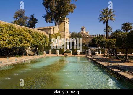 I giardini dell'Alcazar de los Reyes Cristianos a Cordoba, Spagna Foto Stock