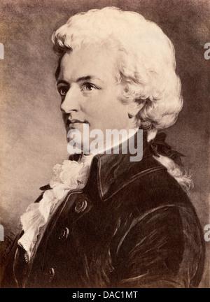 Ritratto di Wolfgang Amadeus Mozart. Fotografia di un dipinto Foto Stock