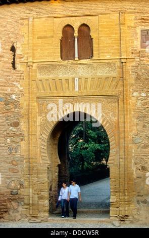 """'Puerta del vino """", Alcazaba, Alhambra di Granada. Andalusia, Spagna Foto Stock"""