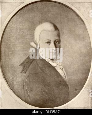 Wolfgang Amadeus Mozart, 1756 - 1791. Il compositore austriaco e musicista come un bambino. Foto Stock