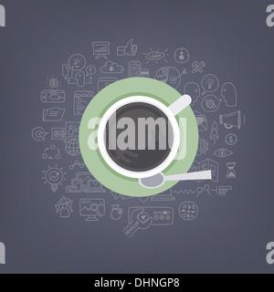 Illustrazione moderno concetto di pensare, di brainstorming e di sviluppo business e marketing idee mentre si beve Foto Stock