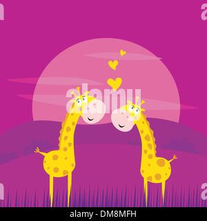 Due africani giallo giraffe in amore Foto Stock