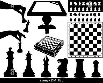 Illustrazione dei pezzi di scacchi Foto Stock