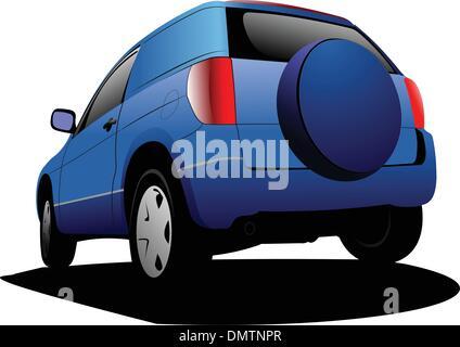Colore blu minivan auto sulla strada. Illustrazione Vettoriale Foto Stock