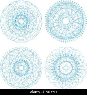 Set di vettore arabescato rosette certificato elementi decorativi Foto Stock