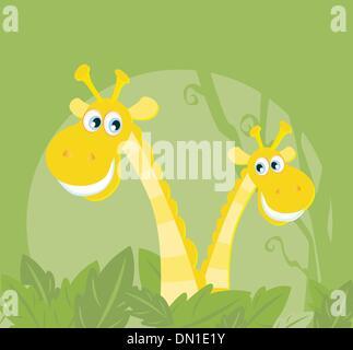 Funny animals - giungla famiglia giraffa Foto Stock