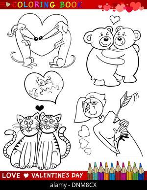 Il giorno di San Valentino e amore temi insieme di raccolta del bianco e nero Cartoon illustrazioni per libro da Foto Stock