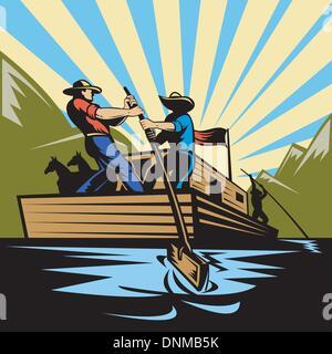 Illustrazione di un cowboy uomo flatboat sterzo lungo il fiume Foto Stock