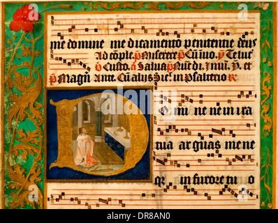 A partire da un foglio di antiphonal Fiandre (Bruges o Gand) 1500-1525 (David penitente preghiera) Belgio Belgio Foto Stock