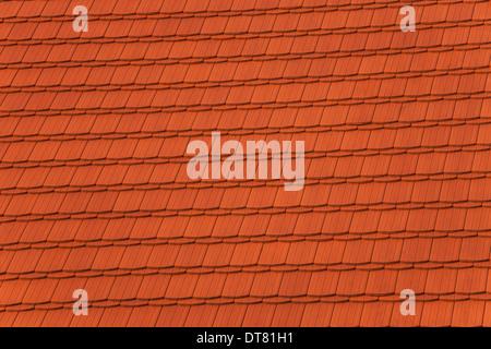 Tegole rosse del tetto, fondo di architettura. Foto Stock