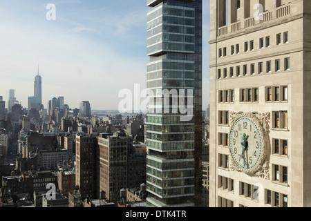 Inferiore dello skyline di Manhattan tra cui il Met Life Itinerari Segreti di Palazzo Ducale e il nuovo edificio Foto Stock