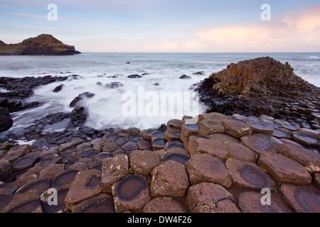 Sunrise al Giants Causeway,l'Irlanda del Nord Foto Stock