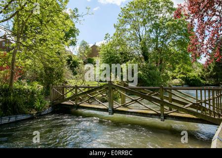 Bella e antica passerella in legno sul fiume Itchen nel parco a Winchester, Hampshire, Inghilterra, Regno Unito Foto Stock