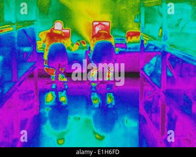 Infrarossi immagine termica dei lavoratori e la perdita di calore al computer stazione di lavoro Foto Stock