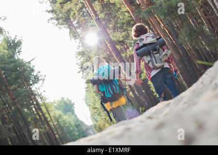 Vista posteriore di escursionismo coppia tenendo le mani mentre passeggiate in foresta Foto Stock