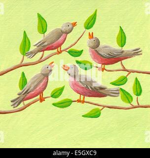 Illustrazione in acrilico di dodici giorni di Natale - quattro uccelli Foto Stock