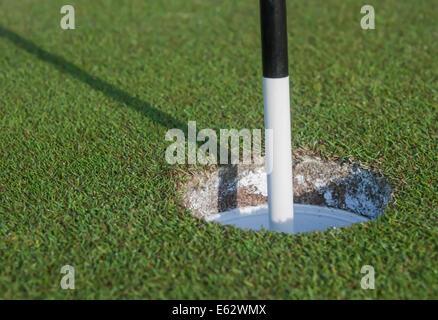 Bianco e nero marcatore di Golf nel foro Foto Stock