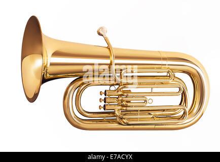 Golden tuba isolati su sfondo bianco Foto Stock