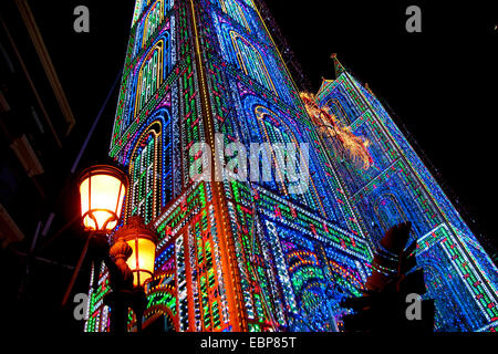 Las Fallas Festival display illuminazione. Foto Stock
