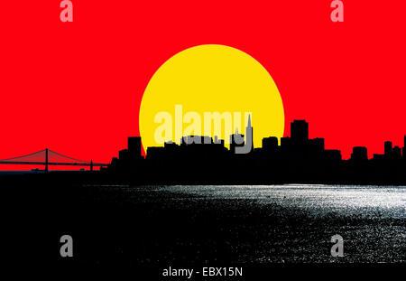 Di grandi dimensioni e di tramonto Cielo rosso con lo skyline di San Francisco, Stati Uniti d'America, California, Foto Stock