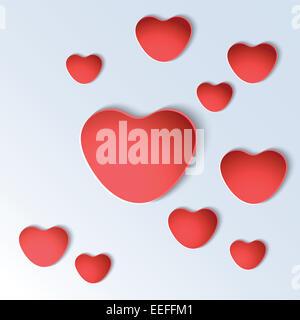 Forme di cuore su sfondo bianco. Foto Stock