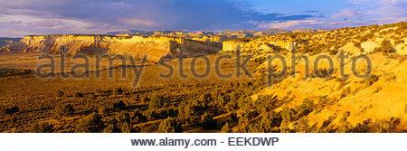 Vista di mesas e tabella Cliff Plateau [Escalante montagne] in distanza. Grand Staircase-Escalante monumento nazionale, Foto Stock