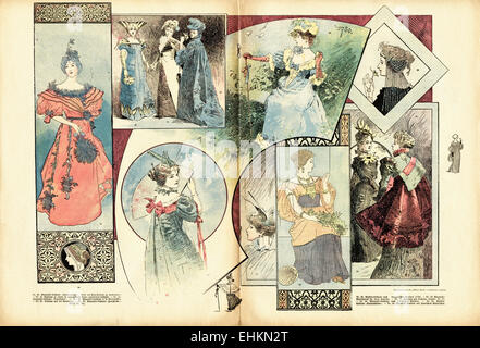Vittoriano moda donna Illustrazione a colori circa del 1895. Pagina doppia in tedesco fashion magazine Wiener modalità. Foto Stock
