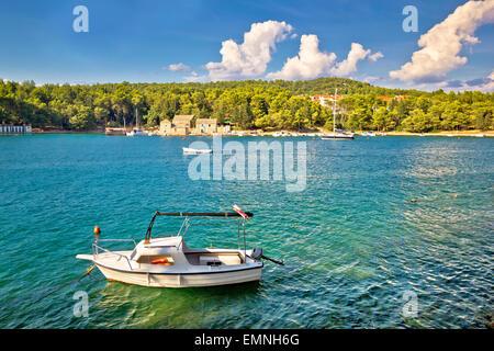 Stari Grad sulla isola di Hvar vista fronte mare, Dalmazia, Croazia Foto Stock