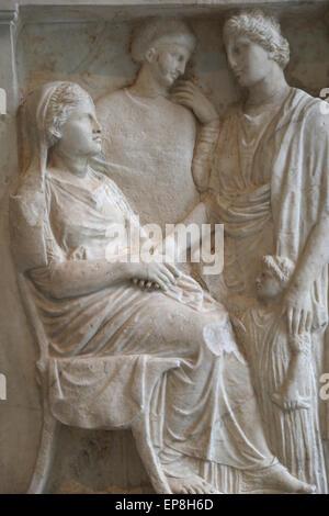 Stele in marmo di una donna. Greco, Mansarda ca. 375-350 A.C. Foto Stock