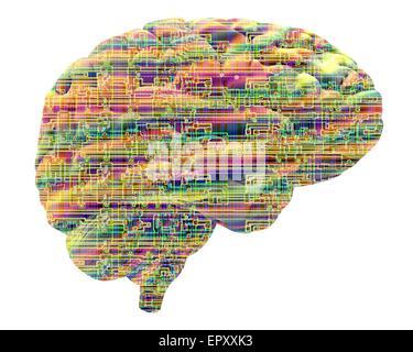 Intelligenza artificiale e cibernetica, immagine concettuale. Questa immagine di un chip per computer struttura, Foto Stock