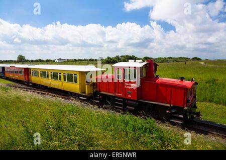 Isola di treno Langeoog, isola, mare del Nord est delle Isole Frisone, Frisia orientale, Bassa Sassonia, Germania, Foto Stock