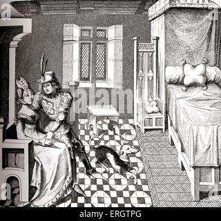 Knight & la sua signora in una camera arredata - Costumi della Corte di Borgogna Borgogna (), del XIV secolo. Cane Foto Stock