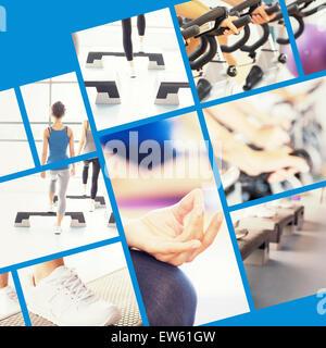 Immagine composita di primo piano dello sportivo ritagliate le donne in lotus pongono Foto Stock