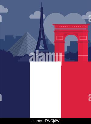 Immagine illustrativa che rappresentano i luoghi più famosi di Parigi, Francia Foto Stock