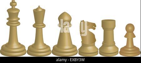 Una immagine vettoriale di bianco pezzi di scacchi re Regina Vescovo Knight Rook e pedina isolata su bianco Foto Stock