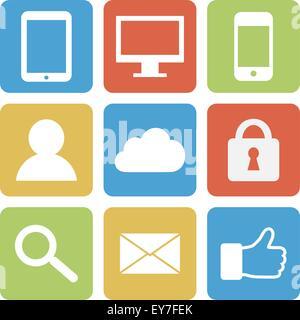 Colore pulsanti web su sfondo bianco Foto Stock