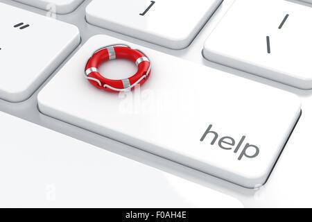 3D render di benedizione sulla tastiera del computer. Aiutare salvagente concept Foto Stock