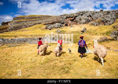 Ispanico madre e bambini passeggiate llama nel paesaggio rurale Foto Stock