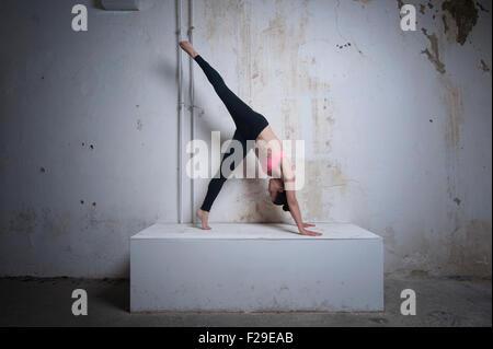 Metà donna adulta praticando uno zampe rivolta verso il basso la posizione del cane sul blocco di calcestruzzo, Foto Stock