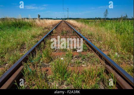 I binari ferroviari, Baviera, Germania Foto Stock