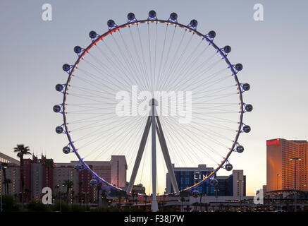 Una vista serale della alta rullo ruota panoramica Ferris a Las Vegas, Nevada. Foto Stock